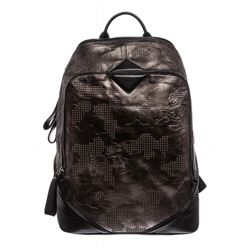 MCM Gunmetal Gray Leather Studded Stencil Lion Medium Duke Backpack