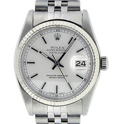 Rolex Mens Stainless Steel Silver Index And White Gold Fluted Bezel Datejust Wri