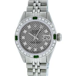 Rolex Stainless Steel VVS Diamond and Emerald DateJust Ladies Watch