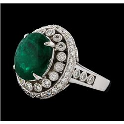 4.75 ctw Emerald and Diamond Ring - 14KT White Gold