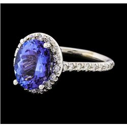 3.80 ctw Tanzanite and Diamond Ring - 14KT White Gold