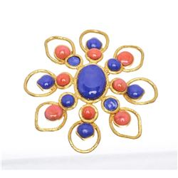Chanel Gold Faux Stones Flower Vintage Brooch 93P