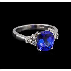2.72 ctw Tanzanite and Diamond Ring - 14KT White Gold