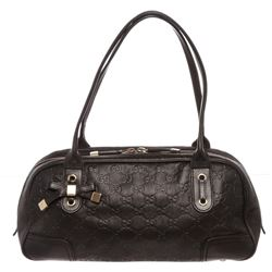 Gucci Black Leather Guccissima Princy Boston Bag