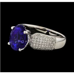 3.82 ctw Tanzanite and Diamond Ring - 18KT White Gold