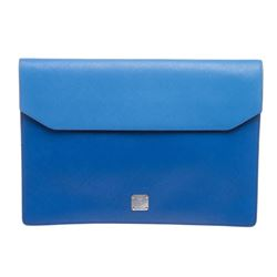 MCM Blue Leather Two-Tone Robinson Document Case