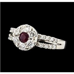 0.22 ctw Ruby and Diamond Ring - 14KT White Gold