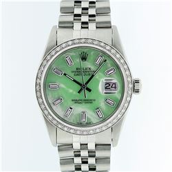 Rolex Stainless Steel Green MOP Diamond DateJust Men's Watch