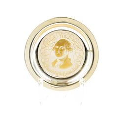 Sterling Silver and 24KT Gold The George Washington Plate Inlaid