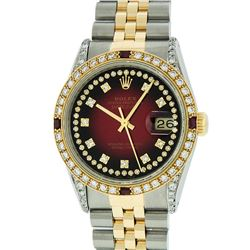 Rolex Two-Tone 1.65 ctw Diamond and Ruby DateJust Men's Watch