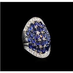 14KT White Gold 7.25 ctw Sapphire and Diamond Ring