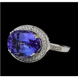8.84 ctw Tanzanite and Diamond Ring - 14KT White Gold