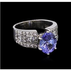 2.99 ctw Tanzanite and Diamond Ring - 14KT White Gold