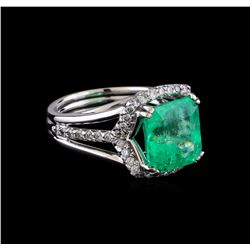 5.42 ctw Emerald and Diamond Ring - 14KT White Gold