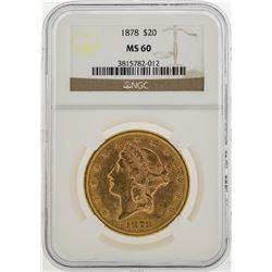 1878 $20 Liberty Head Double Eagle Gold Coin NGC MS60