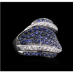 10KT White Gold 2.71 ctw Blue and White Sapphire Ring