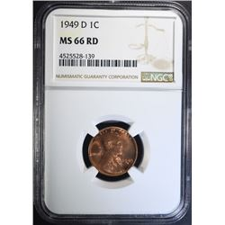 1949-D LINCOLN CENT, NGC MS-66 RED
