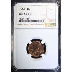 1955 LINCOLN CENT, NGC MS-66 RED
