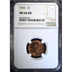 1953 LINCOLN CENT, NGC MS-66 RED