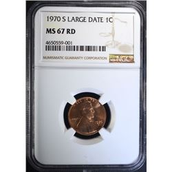 1970-S LINCOLN CENT LG DATE, NGC MS-67 RED TOP POP