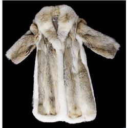 Full Length Grey Wolf Fur Coat With White Fox Trim