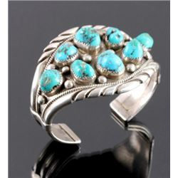 Navajo Sterling Silver Turquoise Nugget Cuff