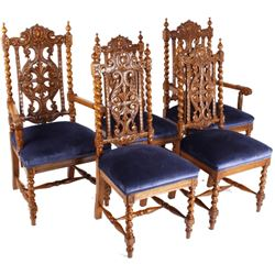 R.J. Horner & Co. Finely Carved Chairs c 1880-1890