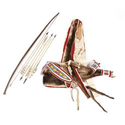 Crow Otter Hide Beaded Bowcase & Quiver c. 1880