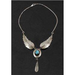 Navajo Sterling Silver Multi-Drop Feather Necklace