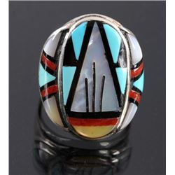Zuni Sterling Silver Inlaid Turquoise Coral Ring