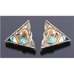 Navajo Sterling Silver Turquoise Collar Tips