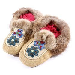 Ojibwe Floral Beaded & Fur Lined Moccasin
