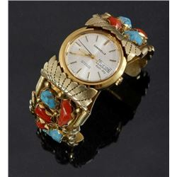 Zuni Wayne C. Gold Plated Multi-Stone Watch