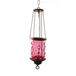 Pull-Down Fenton Cranberry Hobnail Hanging Lamp