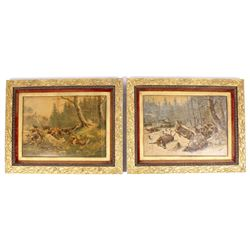 Early Deer Hunt Lithographs in Gilded Frames