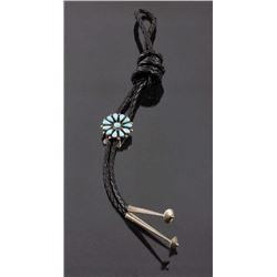 Zuni Petit Point Silver & Blue Gem Turquoise Bolo