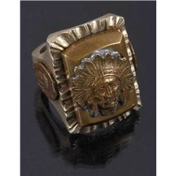 Navajo Brass & Copper Chief Pictorial Ring