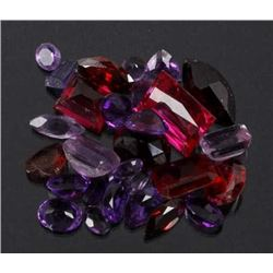 59.5ct. Faceted Amethyst, Ruby & Sapphire Gems