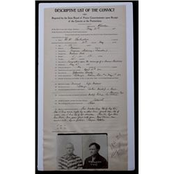 Deer Lodge Montana Prison Intake Document, 1911