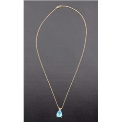 Yellow Gold Necklace With Aquamarine Pendant