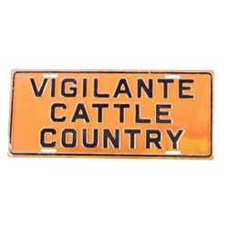 Scarce Vigilante Cattle Country License Plate