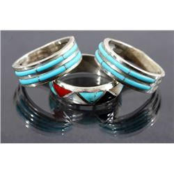 Three Silver And Turquoise Navajo Bands