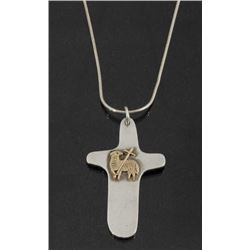 Sterling & 14k Gold Celtic Lamb Cross Pendant