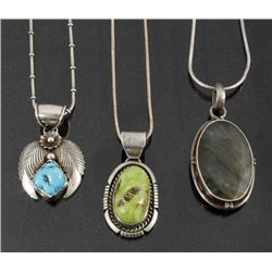 Navajo Sterling & Turquoise Pendant Necklaces (3)