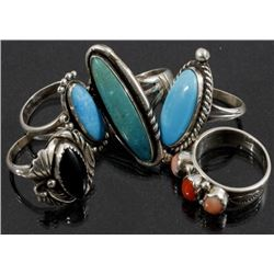 Signed Navajo Sterling Silver Ring Collection (5)