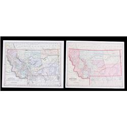 Two Turn Of The Century Hand Tinted Montana Maps