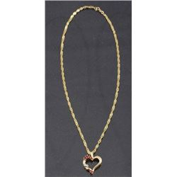 14k Gold Heart Pendant Necklace w/ Diamond & Ruby