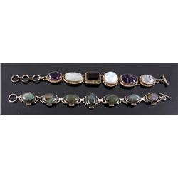 Two Sterling Silver And Gemstone Link Bracelets