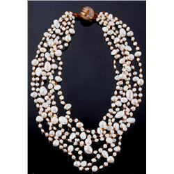 Hand-Strung Multi-Strand Freshwater Pearl Necklace