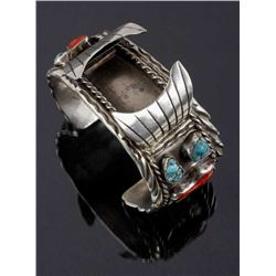 Navajo Sterling, Turquoise, & Coral Watch Cuff